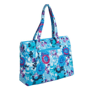 "18""x14"" Blue Floral Quilted Insulated Tote Bag view 1"