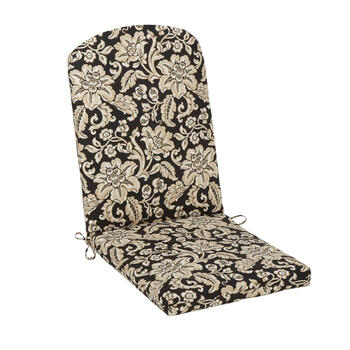 Black/Beige Floral Scroll Indoor/Outdoor Adirondack Chair Pad view 1