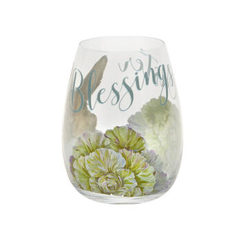 Green Floral Bunny Stemless Wine Glasses, Set of 4 view 3
