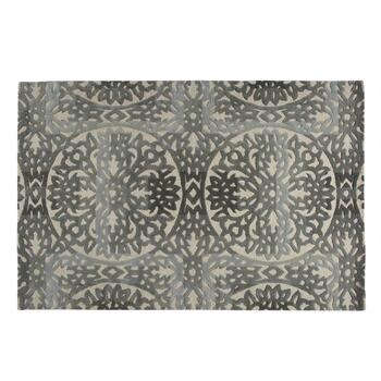 Gray Medallion Wool Area Rug