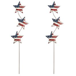 "35"" 3-Star Patriotic Metal Stakes, Set of 2"