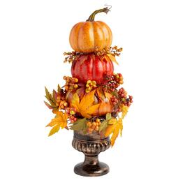 "17.5"" Decorative Urn with Stacked Pumpkins"
