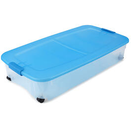 Blue Plastic Under Bed 56 Quart Storage Container view 1