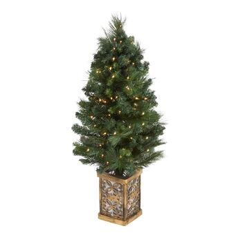 4' Pre-Lit Twinkle Base Porch Tree