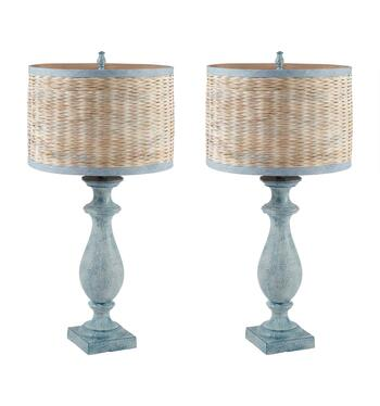"33"" Hourglass Woven Shade Table Lamp, Set of 2"