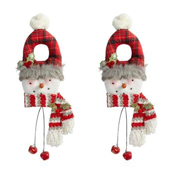 Plush Snowman Door Hangers with Red Bells, Set of 2
