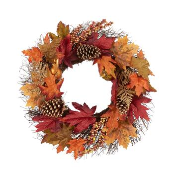 "22"" Red/Orange Glitter Leaves Artificial Twig Wreath"
