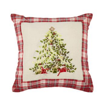 Plaid Holiday Tree Embellished Square Throw Pillow