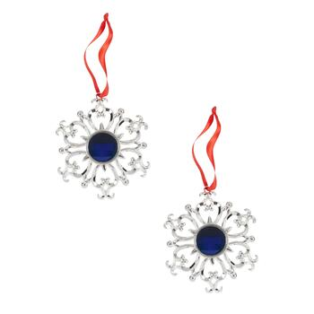 Famous Maker Blue Crystal Snowflake Ornaments, Set of 2