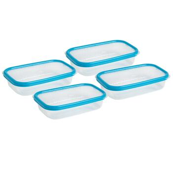 27-oz. Teal Lid Plastic Storage Containers, Set of 4