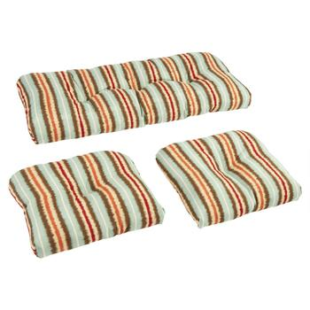 Wavy Stripe Indoor/Outdoor Wicker Seat Pad Set, 3-Piece