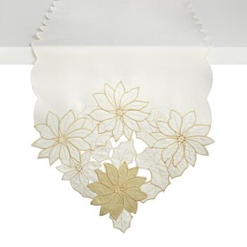 Gold Flower Cutwork Table Runner