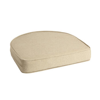 Solid Beige Woven Indoor/Outdoor Gusseted Seat Pad view 1