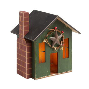 "8.25"" Green Lighted Wood Holiday Chimney House view 1"