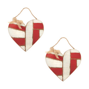 "12"" 2-Tone Hanging Wood Hearts, Set of 2 view 1"