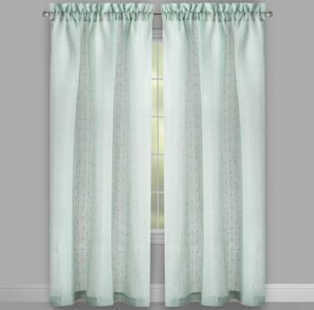 Solid Textured Stripe Rod Pocket Window Curtains, Set of 2 view 2