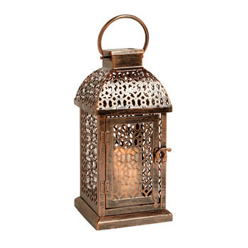 "12"" Punched Metal LED Candle Solar Lantern view 1"