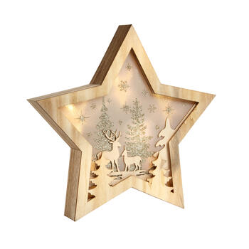Lighted Deer Scene Wood Star Decor view 1