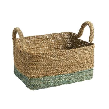 2-Tone Rectangular Woven Seagrass Basket