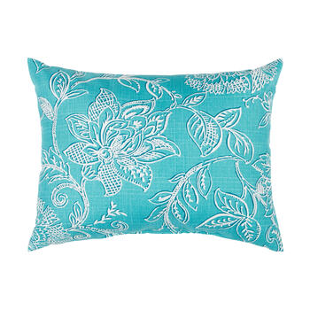 Turquoise Floral Jacquard Oblong Throw Pillow view 1