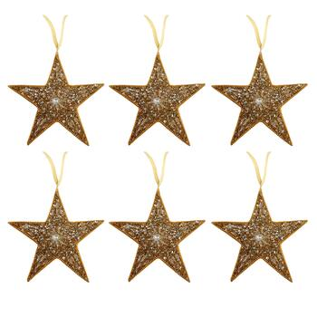 Gold Embellished Star Ornaments, Set of 6