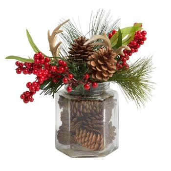 Pinecone and Antlers Glass Jar Centerpiece