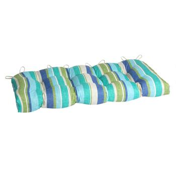 Green/Blue Striped Indoor/Outdoor Double-U Bench Seat Pad