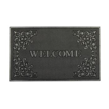 "18""x30"" Silver ""Welcome"" Metallic Rubber Door Mat"