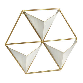 "23""x16"" The Grainhouse™ Gold Geometric Wall Hanging Rack view 1"