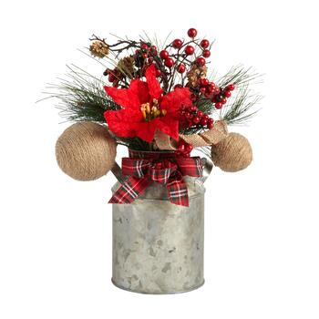"The Grainhouse™ 13"" Plaid Bow and Poinsettia Flower Milk Can Decor"
