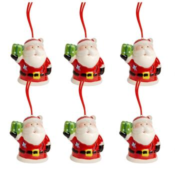 Santa with Green Gift Ceramic LED Ornaments, Set of 6