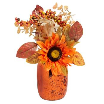 "13"" Orange Artificial Sunflowers Mercury Glass Jar"