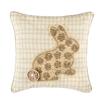 Checkered Square Throw Pillow with Beaded Bunny view 1