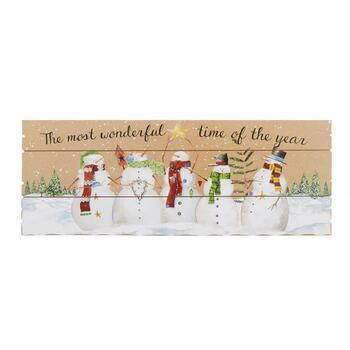 "27"" ""Most Wonderful Time of Year"" Slatted Wood Wall Decor"