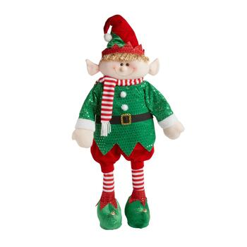 "28"" Green/Red Striped Socks Standing Elf Boy"