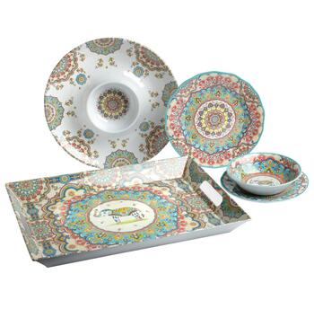 Pink Global Medallion Melamine Dinnerware Collection