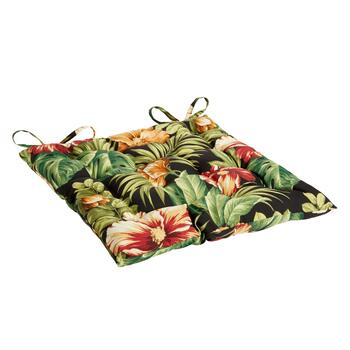 Tropical Flowers Indoor/Outdoor Tufted Square Seat Pad