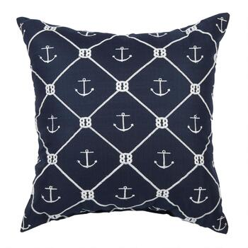Rope and Anchor Indoor/Outdoor Square Throw Pillow