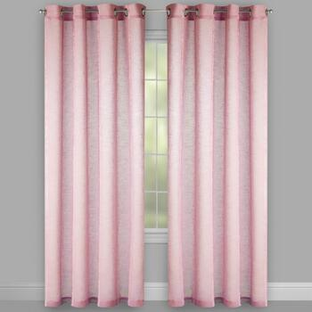 Pink Chenille-Striped Allegra Window Curtains, Set of 2 view 2