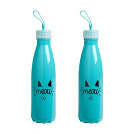 "Blue Cat ""Meow"" Glass Sport Bottles, Set of 2"