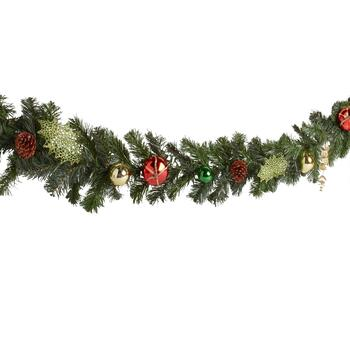 72 Red Green Gold Ornaments And Pinecones Garland