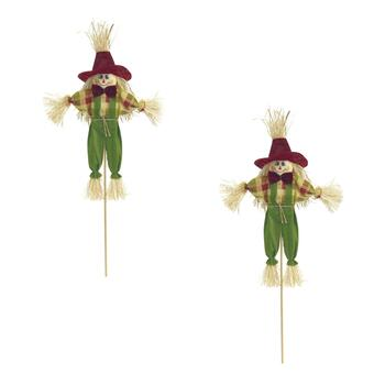 "20"" Scarecrow Boy with Green Pants on a Stick, Set of 2"