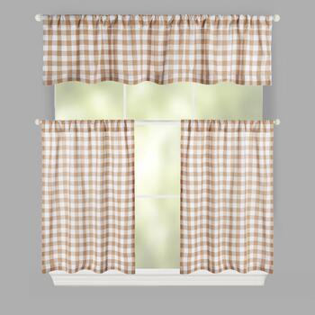 Checkered Rod Pocket Window Tier & Valance Set