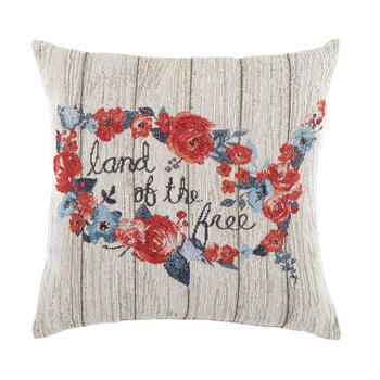 """Land of the Free"" Floral Tapestry Square Throw Pillow view 1"