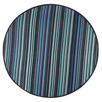 Blue/Green Stripe All-Weather Area Rug view 2 view 3