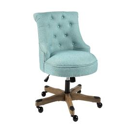 Light Blue Tufted-Back Rolling Office Chair