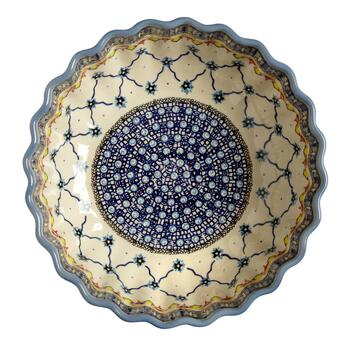 Polish Pottery Blue Linked Florals Large Fluted Serving Bowl view 2