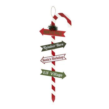 "40"" ""North Pole"" Candy Cane Wall Decor"