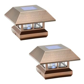 "6"" Solar Post Cap Lights, Set of 2"