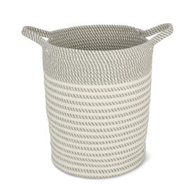 Gray White Cotton Rope Soft Storage Bin view 1